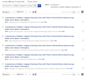Screenshot of OSA search results
